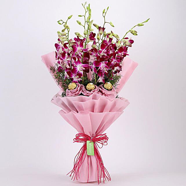 Purple Orchids & Ferrero Rocher Bouquet: Send Flower Bouquets