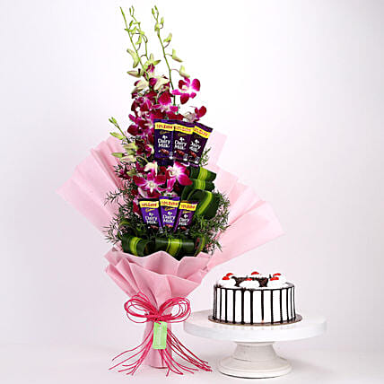 Purple Orchids Posy & Black Forest Cake: