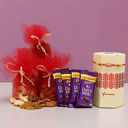 Rakhi With Dry Fruits & Dairy Milk: