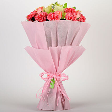 Ravishing Mixed Flowers Bouquet: Send Carnations