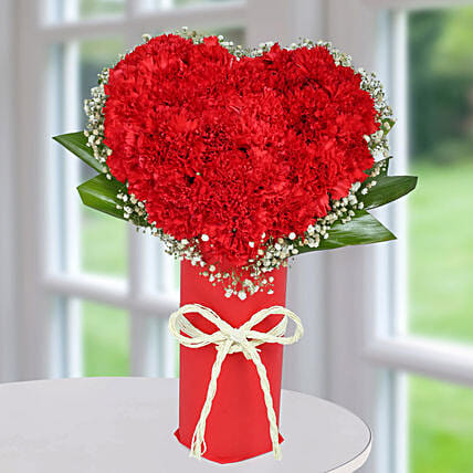 Red Carnation Heart Arrangement: