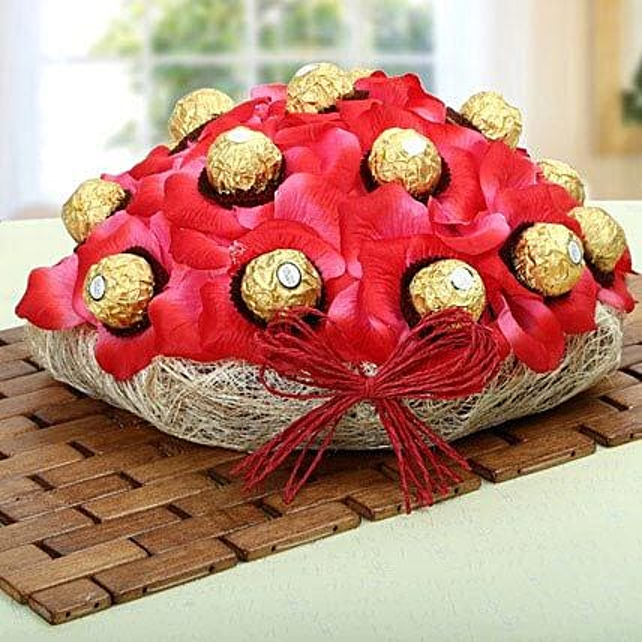 Red Ferrero Chocolate Basket: Return Gifts
