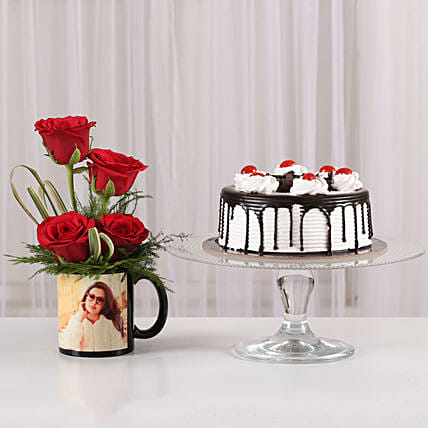 Red Roses Mug & Black Forest Cake Combo: Flowers N Personalised Gifts