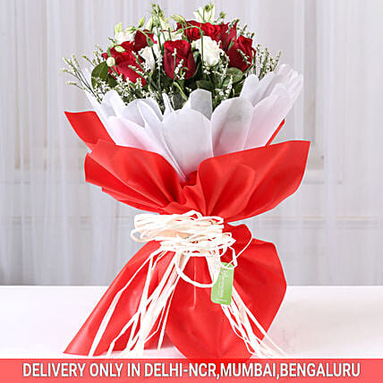 Red Roses & White Limoniums Bouquet: Carnations