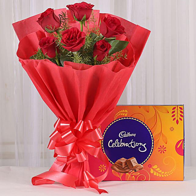 Red Roses & Cadbury Celebrations Combo: Ugadi