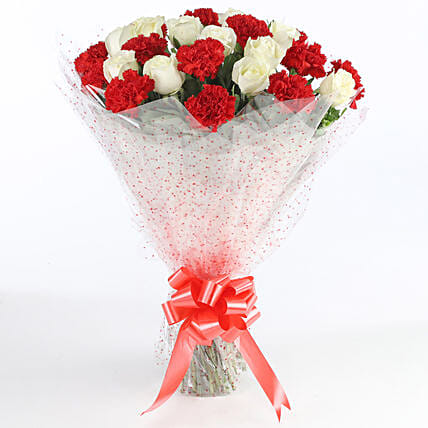 Red & White Carnations Bunch: Carnations