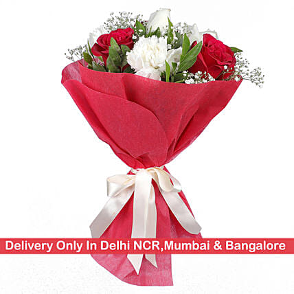 Red & White Floral Delight Bouquet: Send Carnations
