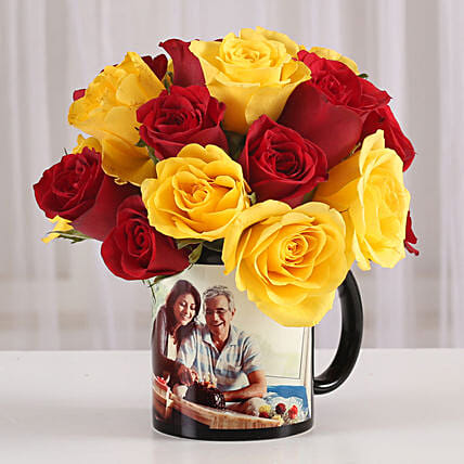 Red & Yellow Roses in Personalised Mug: Grand Parents Day Gifts