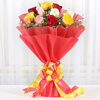 Mixed Roses Romantic Bunch: Gifts For Friendship Day