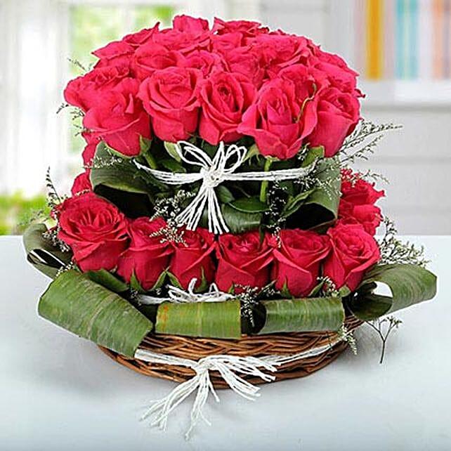 Rose Basket Arrangement: Premium Gifts
