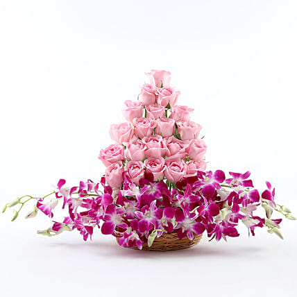 Roses And Orchids Basket Arrangement: Gifts for Basant Panchami