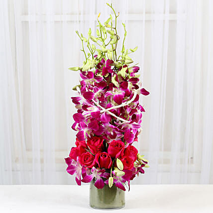 Roses And Orchids Vase Arrangement: Fresh Flower Arrangement
