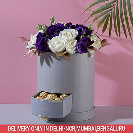 Roses & Lisianthus Box: Send Flowers and Chocolates