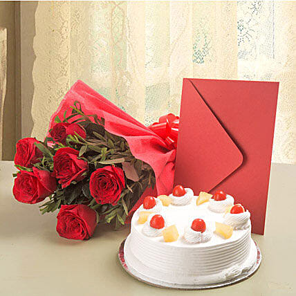 Roses N Cake Hamper: Buy Greeting Cards