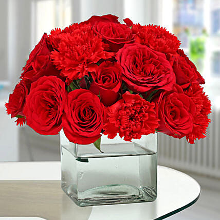 Roses N Carnations Arrangement: Carnations