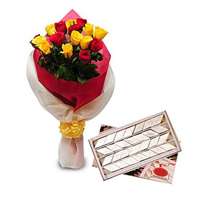 Roses N Kaju Katli EXDFNP104: Flowers & Sweets for Diwali