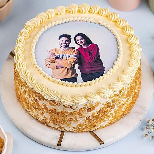 Round Butterscotch Photo Cake: Send Butterscotch Cakes