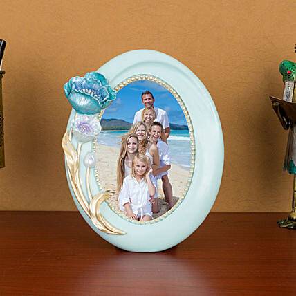 Royal Blue Oval Table Top Photo Frame: Personalised Photo Frames
