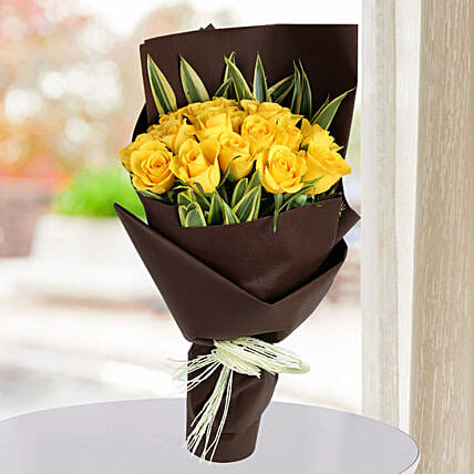 Shining Yellow Roses Bunch: Designer Bouquet
