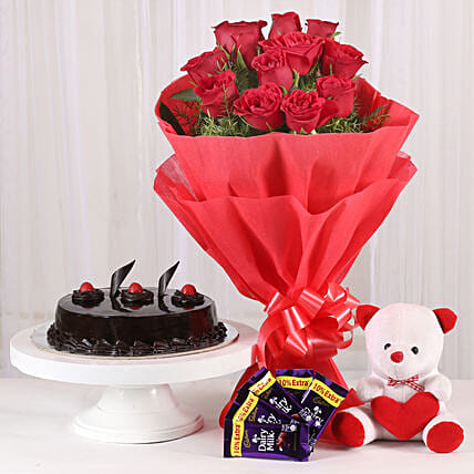 Roses with Teddy Bear, Dairy Milk & Truffle Cake: Gifts to Sarojini Nagar Delhi
