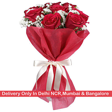 Special Red Roses Bouquet: Mixed Colour Flowers
