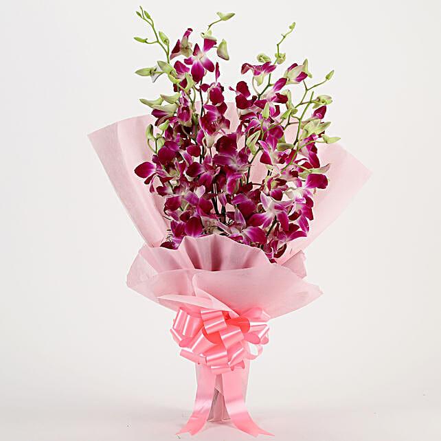 Splendid Purple Orchids Bouquet: Send Orchids
