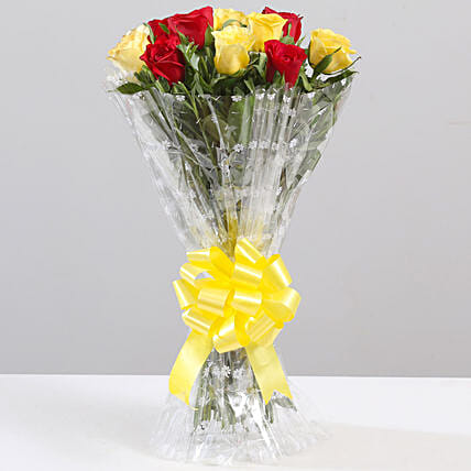 Striking Red & Yellow Rose Bouquet: Mixed Colour Flowers
