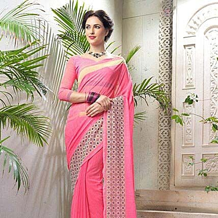 Striped Pink Faux Georgette Saree: Apparel Gifts