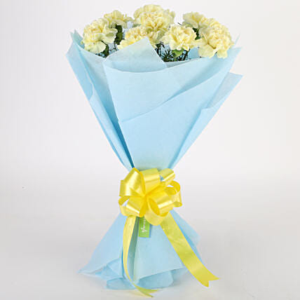 Sundripped Yellow Carnations Bouquet Send Gifts To Kolkata