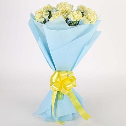 Sundripped Yellow Carnations Bouquet: Hug Day Gifts