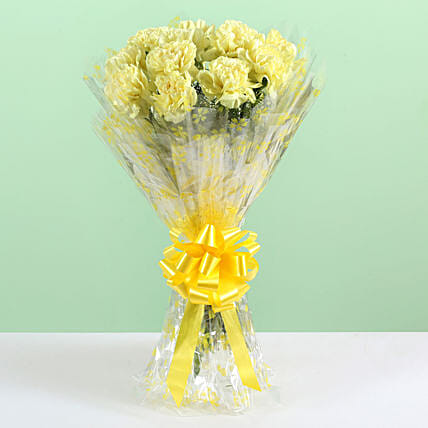 Sunny Bunch- 12 Yellow Carnations Bouquet: