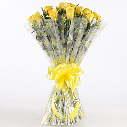 Sunny Side-18 Yellow Roses Bouquet: