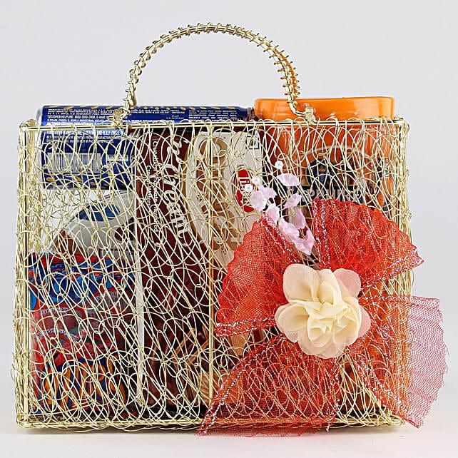 Sweet Snack Hamper In Mesh Bag: Send Birthday Gift Hampers