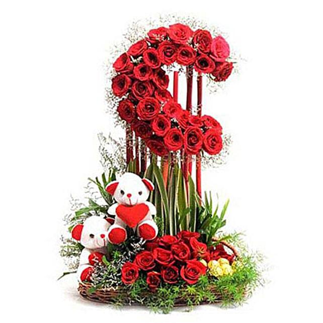Red Roses Moon Arrangement: Flower N Teddy