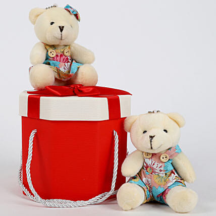 Teddy Bears in Pretty Red Box: Gift for Girlfriend Day