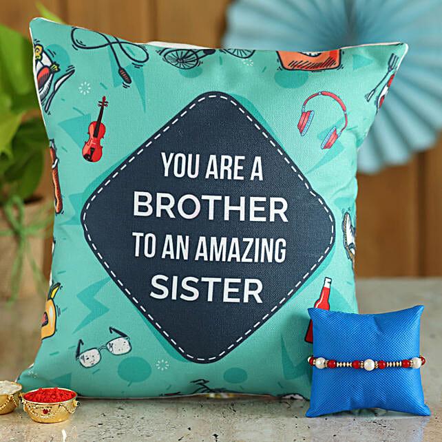 Thread Rakhi & Amazing Brother Cushion Combo: Rakhi Same Day Delivery in India