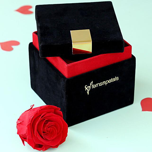 Timeless- Forever Red Rose in Velvet Box: Premium Flowers For Valentine's Day