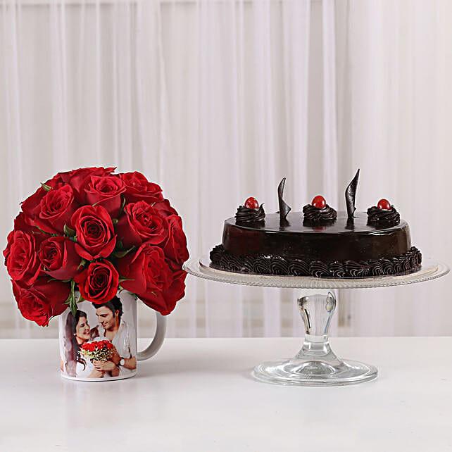 Truffle Cake & 20 Red Roses Mug: Flowers N Personalised Gifts