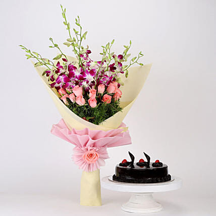 Truffle Cake With Orchids & Roses Bunch: Flowers & Cake Combos