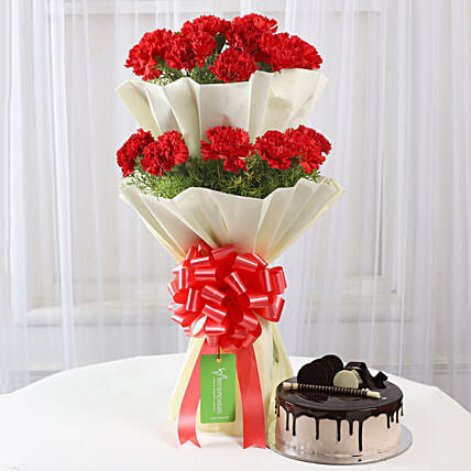 Two Layer Red Carnations Bouquet & Chocolate Cake Combo: Gift Ideas