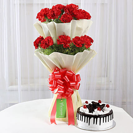 Two Layer Red Carnations With Black Forest Cake: Flower Bouquet with Cake