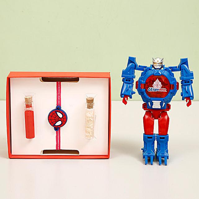 Ultra Man Transformer Watch & Spiderman Rakhi: Combo Gifts