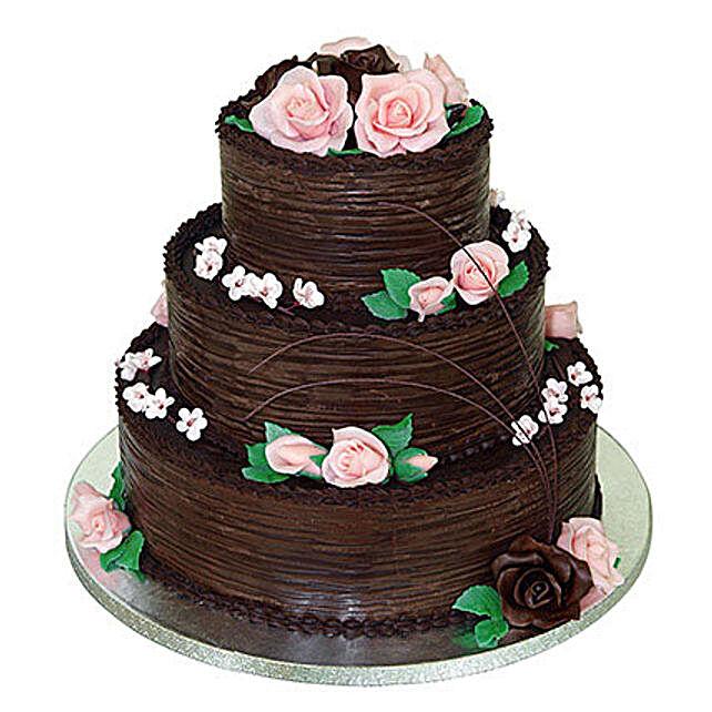 3 Tier Chocolate Cream Cake: Multi Tier Cakes