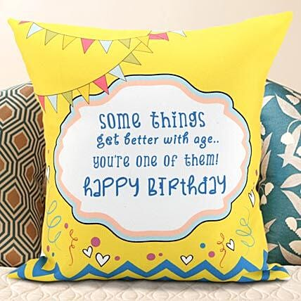 Birthday Message Cushion: Personalised Gifts Rudrapur