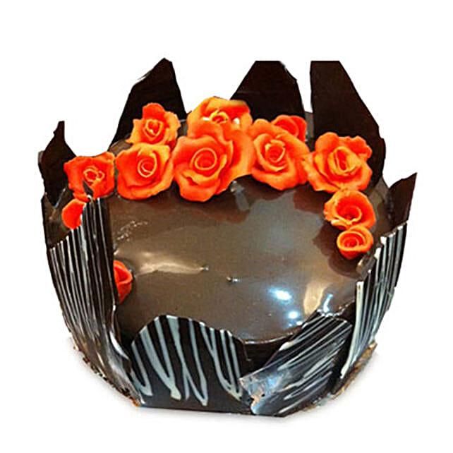Chocolate Cake With Red Flowers: Cake Kalyan Dombivali