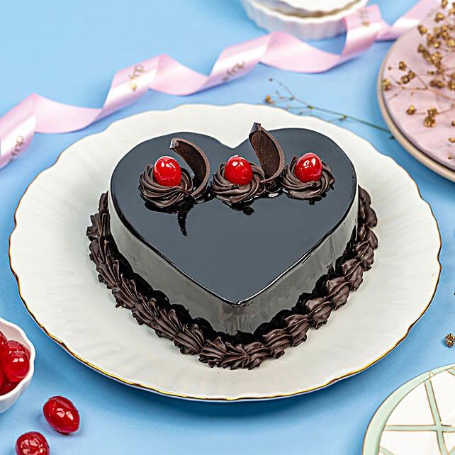 Chocolate Truffle Heart Cake: Heart Shaped Cakes Faridabad