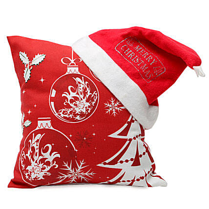Christmas Cushion and Cap: Send Christmas Gifts  to Lucknow