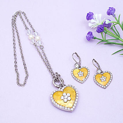 Golden Peacock Slver and Yellow Jewellery Set: Heart Shaped Gifts