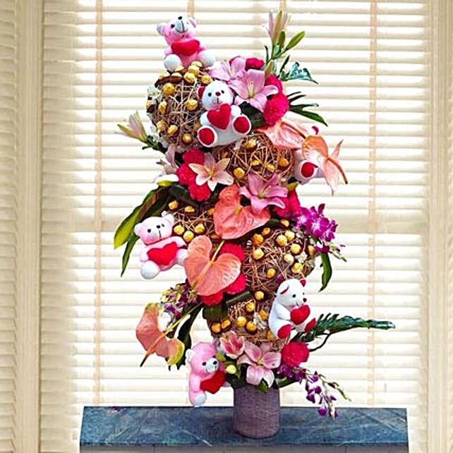 Flowers & Ferrero Rocher Arrangement: Anthuriums