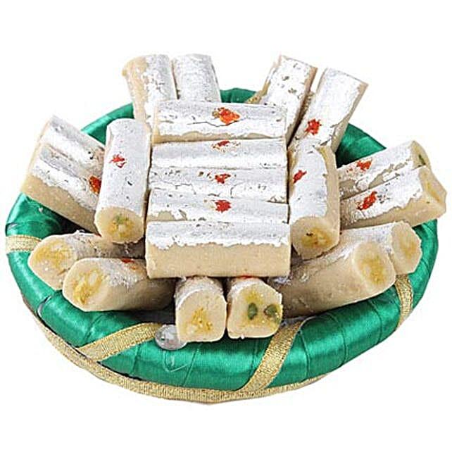 Kaju Rolls In Green Tray: Birthday Sweets